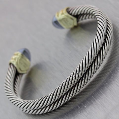 David Yurman Sterling Silver 14k Yellow Gold Hematite Double Cable Cuff Bracelet