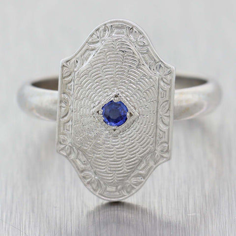 1930s Antique Art Deco Filigree 14k White Gold .05ctw Sapphire Cocktail Ring