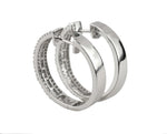 Womens Modern 14K 585 White Gold 1.62ctw Round & Baguette Diamond Hoop Earrings