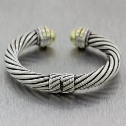 David Yurman Sterling Silver 14k Yellow Gold Cable Classic 10mm Cuff Bracelet