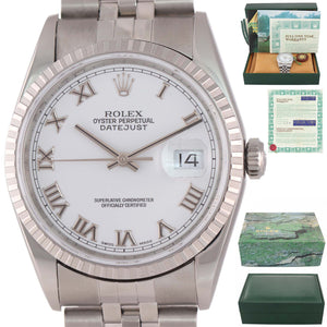 WARRANTY PAPERS Rolex DateJust 36mm 16220 White Roman Jubilee Date Watch Box
