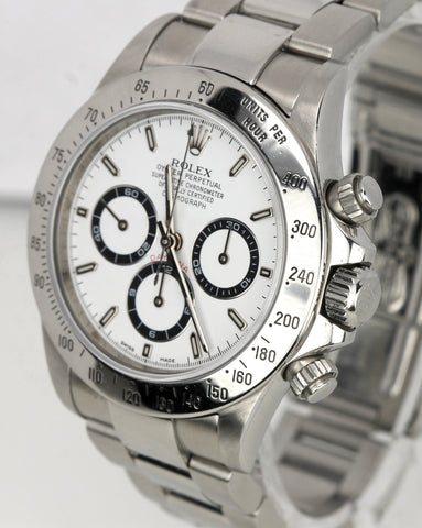 1999 Rolex Daytona Cosmograph Zenith White 40mm 16520 A Solid End Link Watch