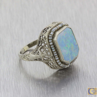 1930s Antique Art Deco Estate 14k White Gold Doublet Opal Seed Pearl Ring A8