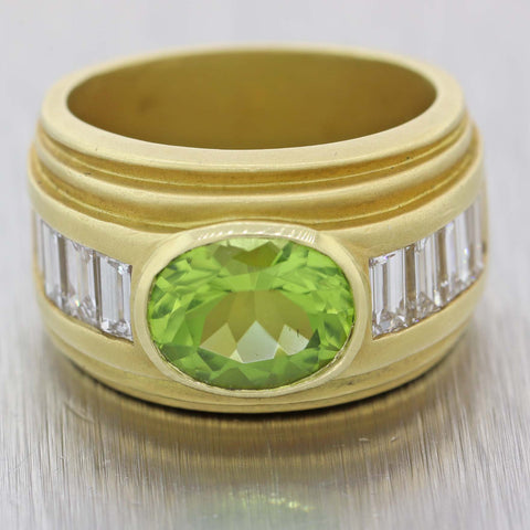 Barry Kieselstein-Cord 18k Yellow Gold Peridot 2.50ct Diamond Wide Cocktail Band Ring