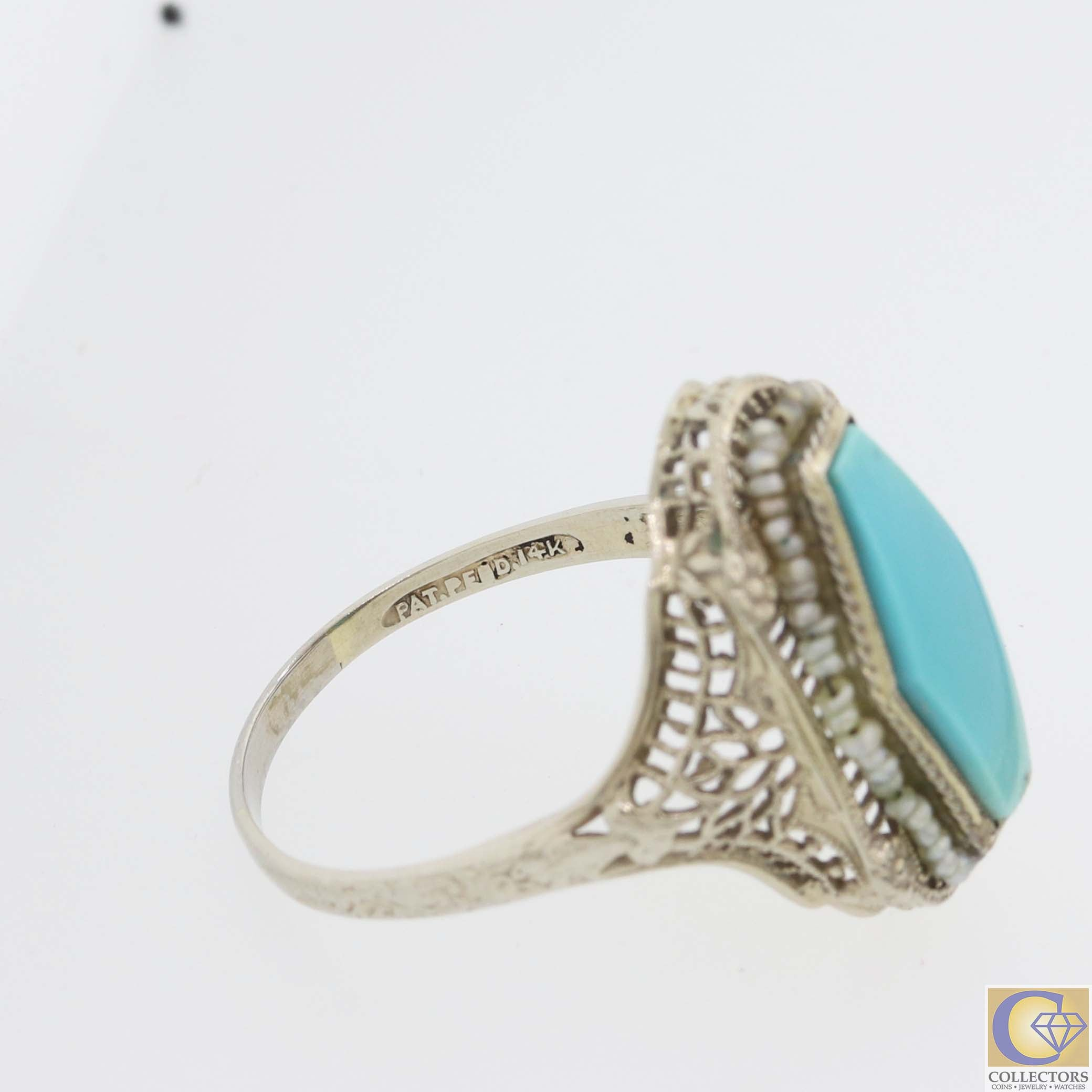 1930s Antique Art Deco 14k White Gold Turquoise Seed Pearl Ring A8