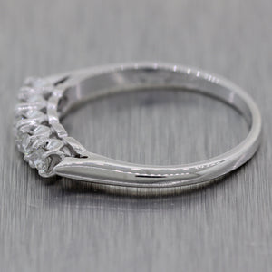 1930's Antique Art Deco 14k White Gold 0.25ctw Diamond Wedding Band Ring