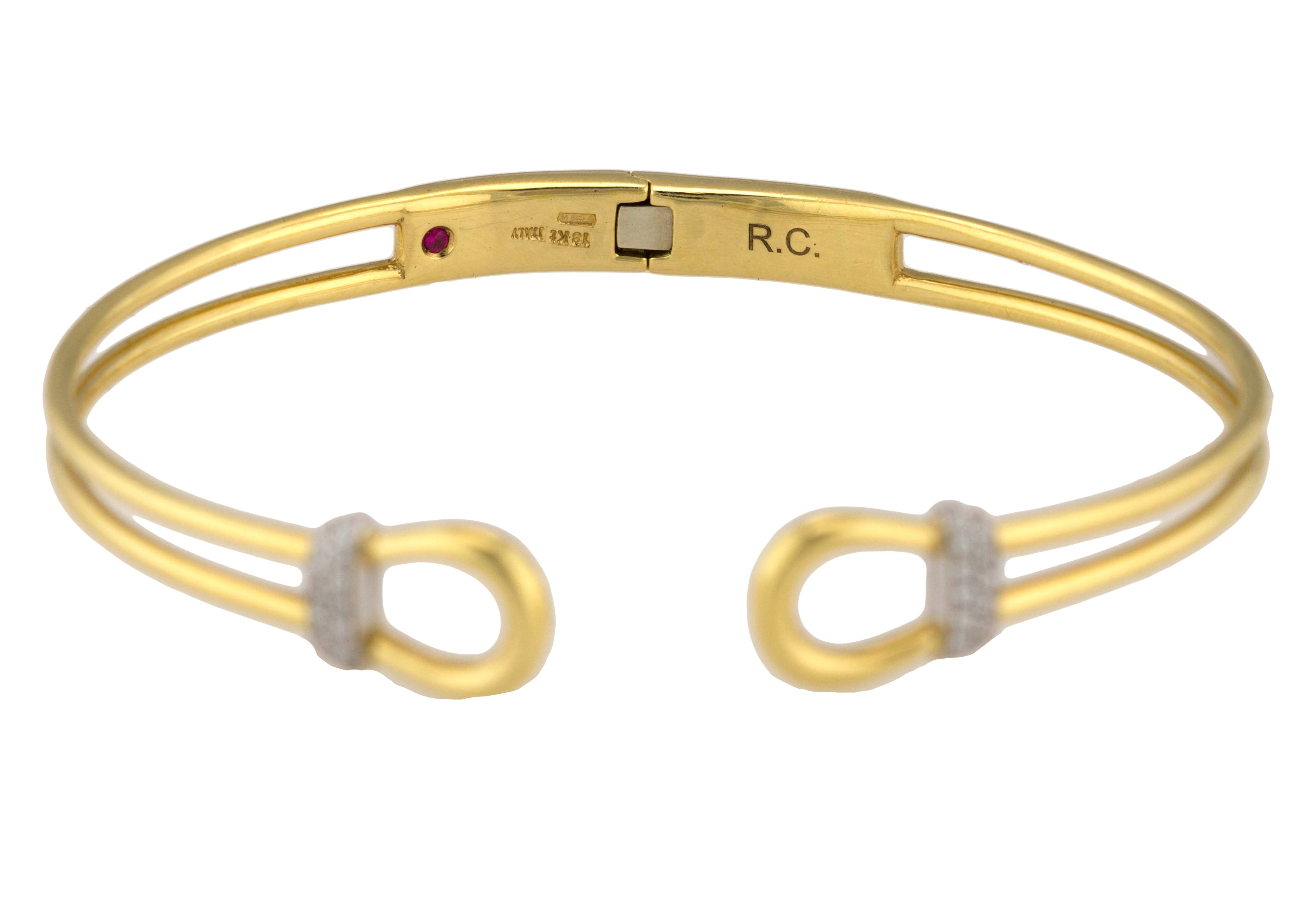 Roberto Coin 18K White Yellow Gold Classic Parisienne Diamond Open Cuff Bracelet