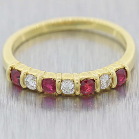 Vintage Estate 18k Yellow Gold .35ctw Ruby Diamond 7stone 2mm Band Ring