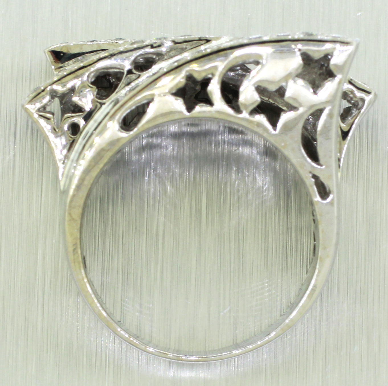 Vintage Estate 14k Solid White Gold 1.24 ctw~ Diamond Star & Moon Ring