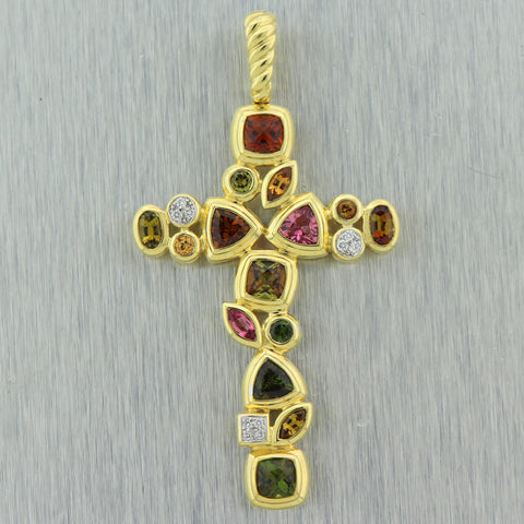 David Yurman 18k Yellow Gold Multi-Stone Cross Pendant