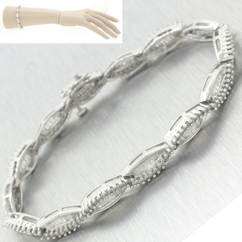 Lovely Modern Solid 14k White Gold 3.00ctw Diamond 3mm Tennis Bracelet N8 Jewelry & Watches Jewelry & Watches