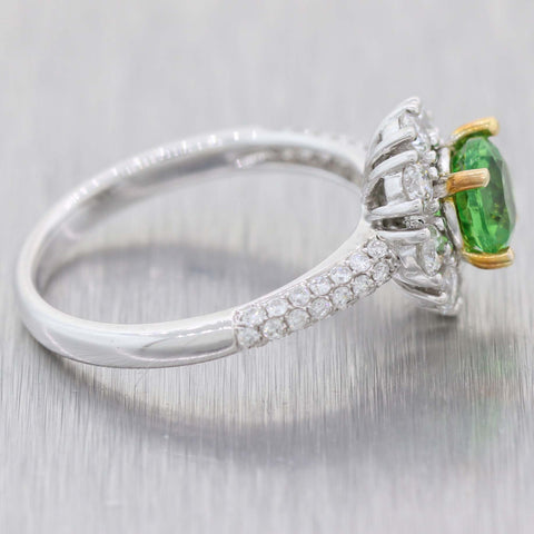 Vintage Estate Solid 14k White Gold 1.75ctw Tsavorite Diamond Floral Cocktail Ring