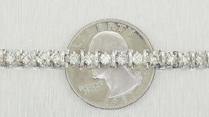 Vintage Estate 14k Solid White Gold 4.20 ctw Round Diamond Tennis Bracelet