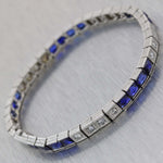 1930s Antique Art Deco Platinum 7.50ctw Sapphire Diamond 4mm Tennis Bracelet