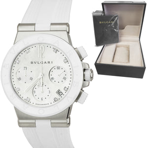 NEW Bvlgari Diagono 37mm Stainless White MOP Automatic Diamond Watch DG 37 SC CH