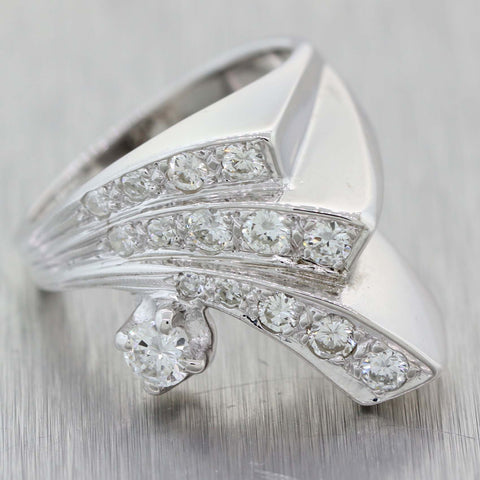 Vintage Art Deco Estate 14k White Gold .75ctw Diamond 3wave Cocktail Ring