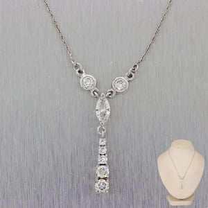 "Vintage Estate 14k White Gold 1.50ctw Marquise & Round Cut Diamond 15"" Necklace"