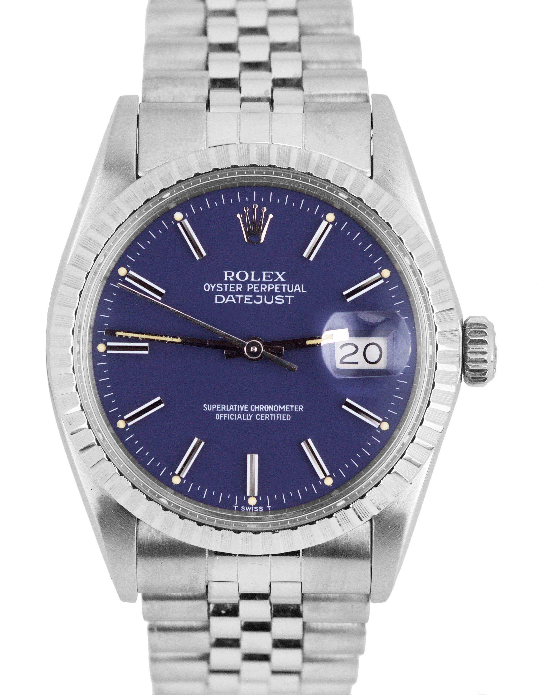 a9c6104ea1a29 1987 Rolex DateJust 36mm 16030 Stainless Steel Blue Stick Patina Jubil –  Collectors1946.com