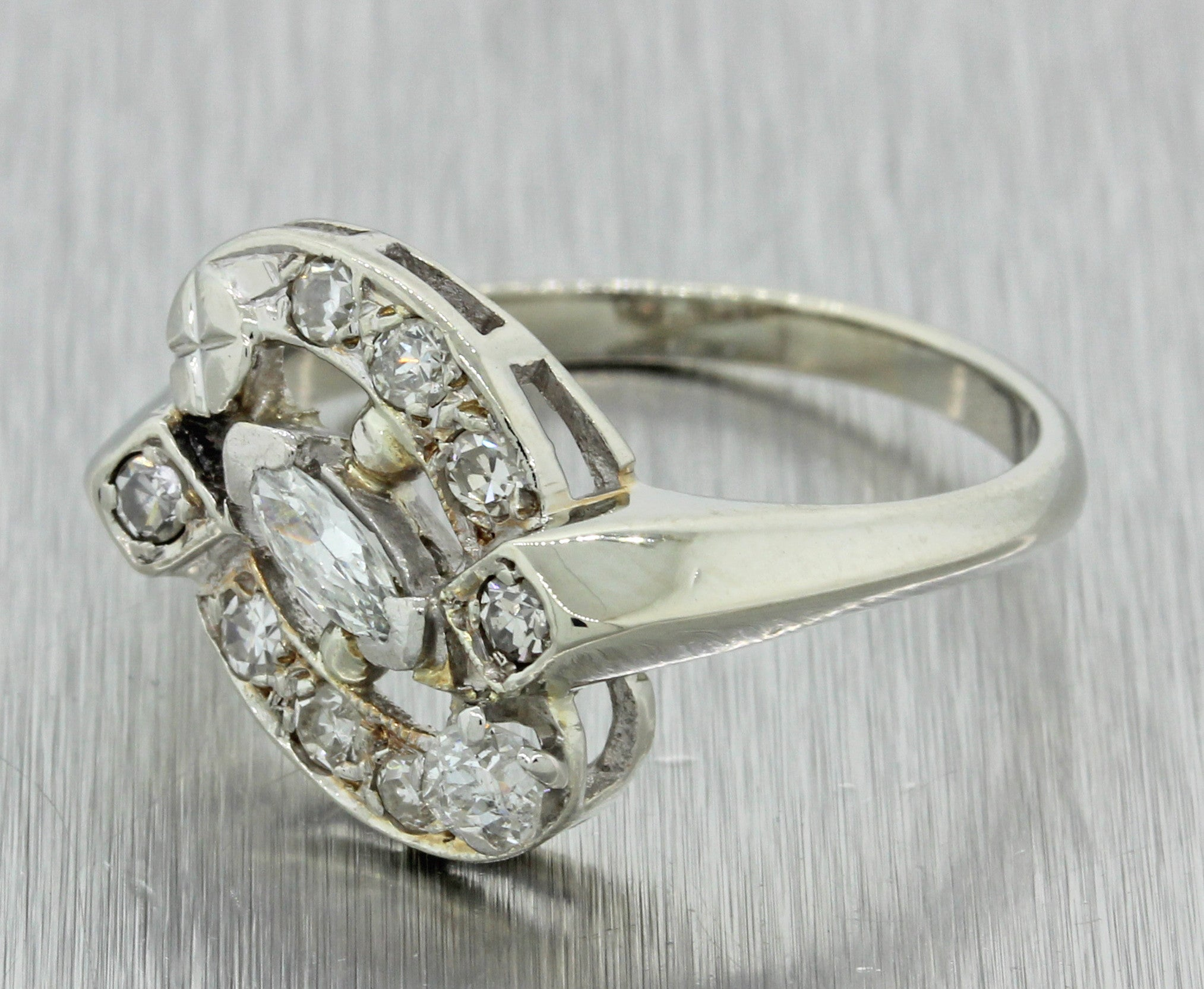 1930s Antique Art Deco Estate 14k Solid White Gold .52ctw Diamond Cluster Ring