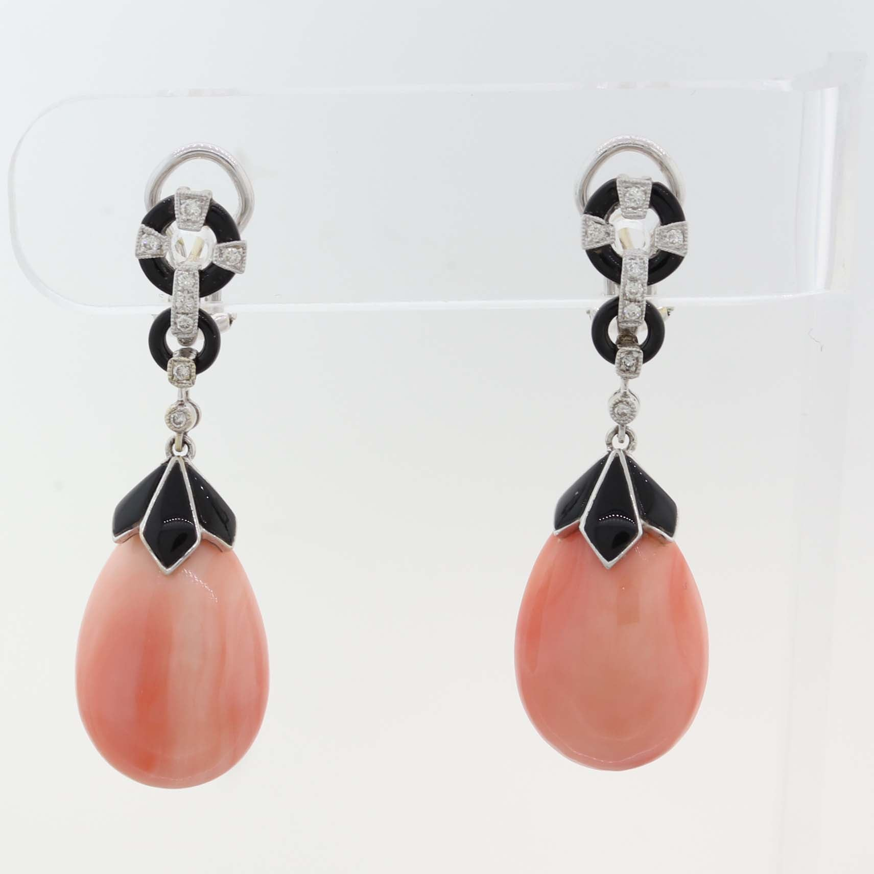 1930s Antique Art Deco 18k Gold Angle Skin Coral Diamond Drop Enamel Earrings