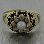 1850's Antique Victorian 14k Yellow Gold 0.20ctw Rose Cut Diamond & Pearl Ring
