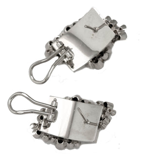 Moraglione Italian Abstract 18K 750 White Gold 0.74ctw Diamond Enamel Earrings