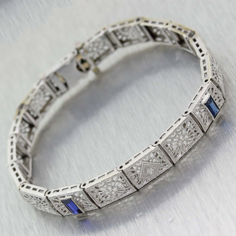 1930s Antique Art Deco 14k White Gold .04ct Diamond Sapphire Tennis Line Bracelet