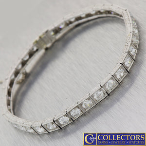 1920s Antique Art Deco Platinum 7.00ctw Diamond 5mm Wide Tennis Bracelet S8