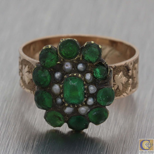 1880 Antique Victorian Estate 10k Rose Gold Green Stone Glass Seed Pearl Ring A8