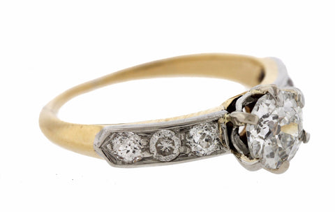 Lovely Ladies Vintage Estate 18K Yellow Gold 1.07ctw Diamond Engagement Ring EGL