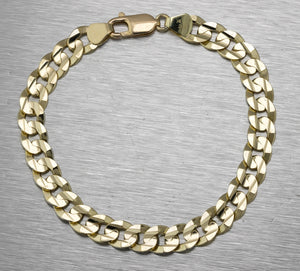 "Men's Italian 14K Yellow Gold 8.25"" 8mm Curb Link Chain Bracelet 19.9gr"