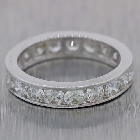 Womens Platinum 2.00ctw Channel Set Diamond 3mm Wedding Band Ring