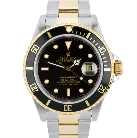 1991 Men's Rolex Submariner 16613 Two-Tone Stainless Black Date Dive 40mm Watch