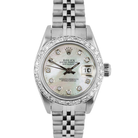 Ladies Rolex DateJust 26mm Stainless Steel MOP Diamond Jubilee Date Watch 79190