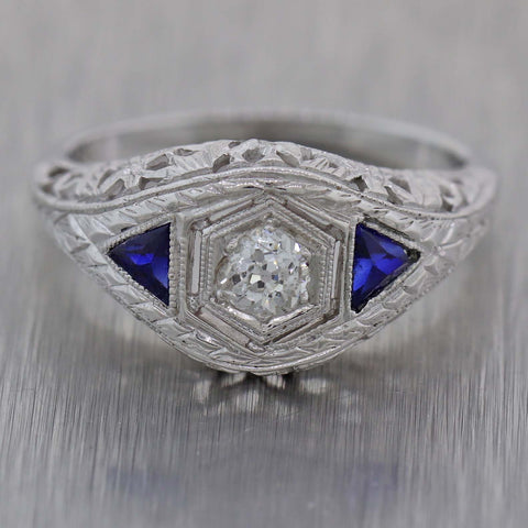 1930s Antique Art Deco 18k White Gold .40ctw Diamond Sapphire Engagement Ring