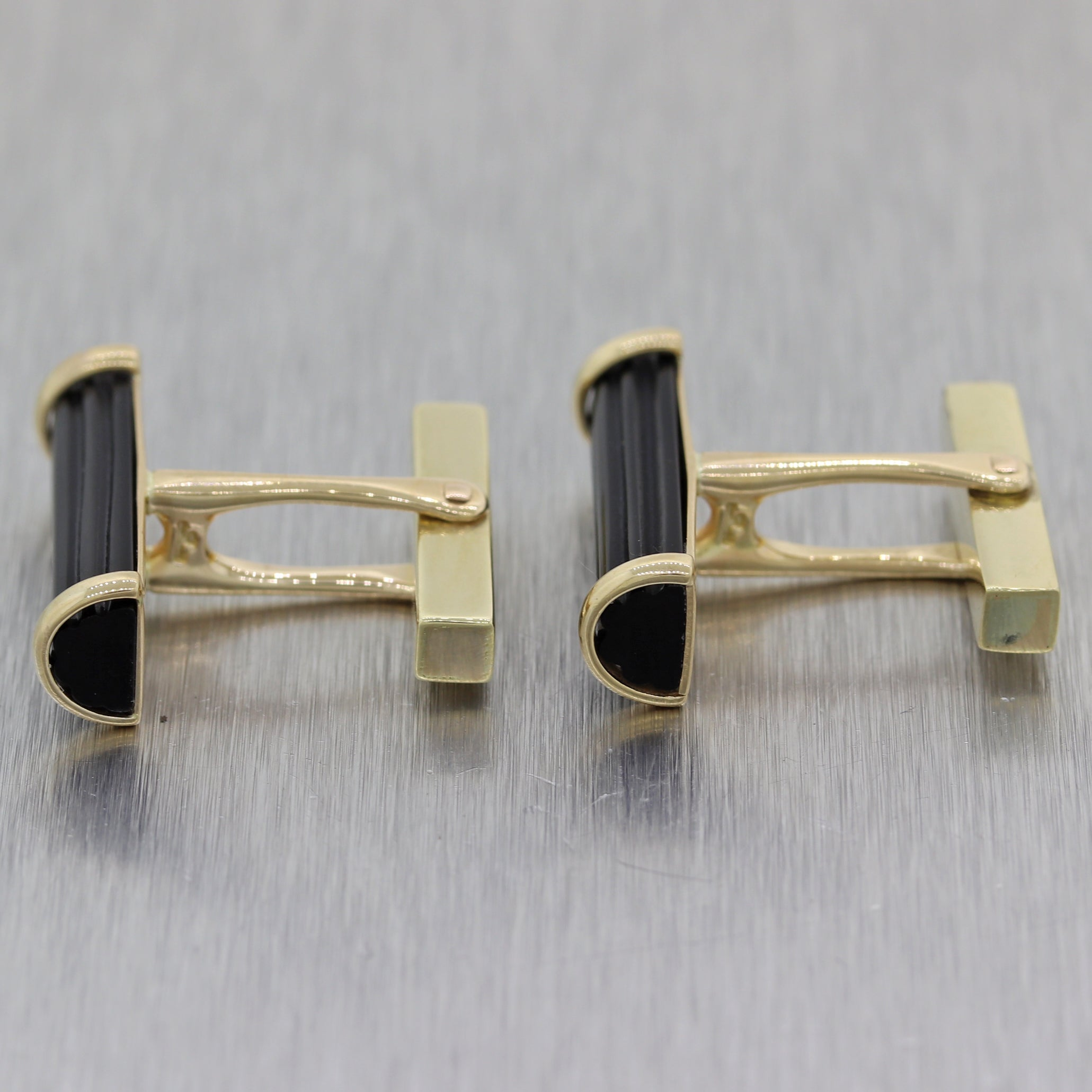 Tiffany & Co. Vintage Estate 14k Yellow Gold Carved Onyx Cufflinks