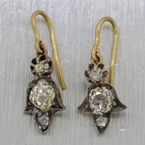 1880's Antique Victorian 18k Yellow Gold & Silver 0.70ctw Diamond Dangle Earring