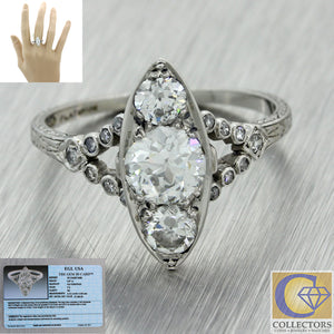 1920s Antique Art Deco Estate Platinum 1.41ctw Diamond Engagement Ring EGL $7300
