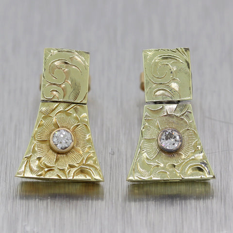 1890's Antique Victorian 14k Yellow Gold 0.10ctw Diamond Earrings
