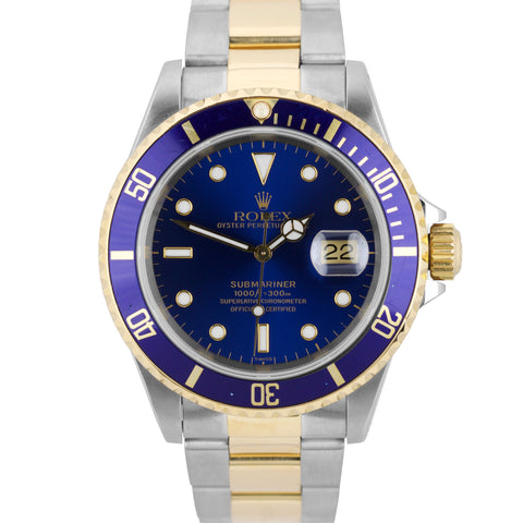 1999 Rolex Submariner 16613 Stainless Two-Tone Blue Date Dive 40mm Swiss Watch