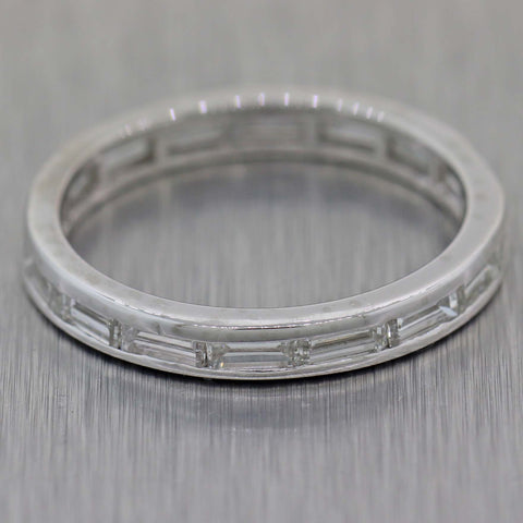 1930s Antique Art Deco 14k White Gold .80ctw Diamond Baguette Wedding Band Ring