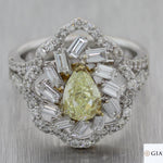 Pear Shape 1.19ct GIA Yellow Diamond 18k White Gold 2.69ctw Halo Engagement Ring