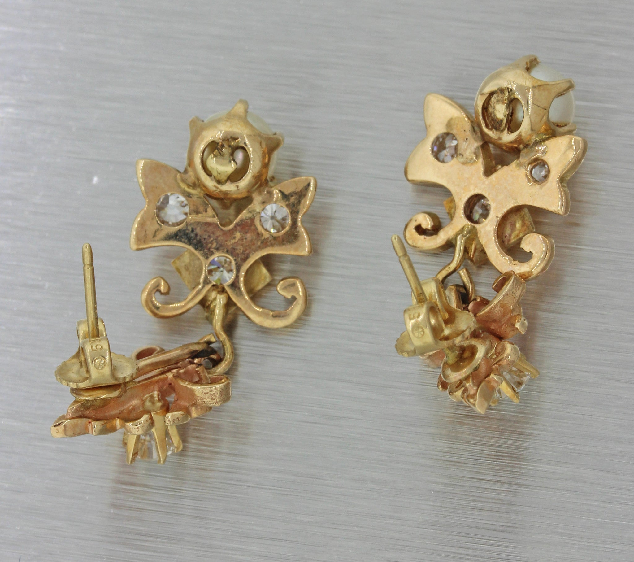 1930s Antique Art Deco 14k Rose Yellow Gold 1.20ctw Diamond Pearl Earrings