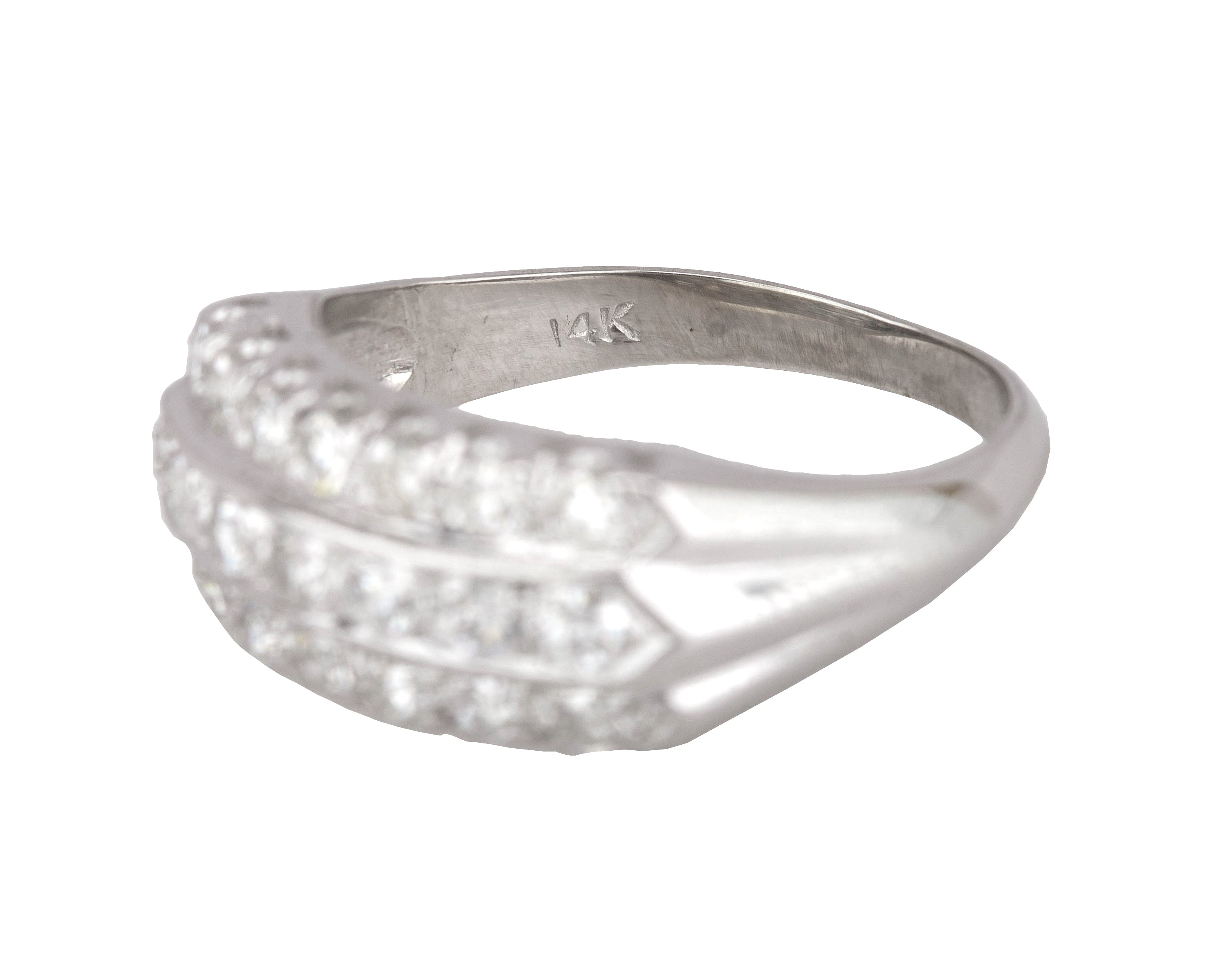 1930's Antique Art Deco 14K White Gold 0.70ctw Diamond Wedding Band Ring