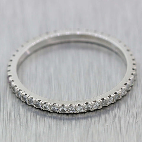 Tiffany & Co. Vintage Estate Platinum .50ctw Diamond 1mm Wedding Band Ring