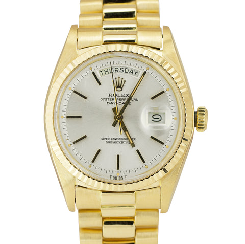 Rolex Day-Date President 36mm Silver Patina Pie-Pan 18K Yellow Gold Watch 1803