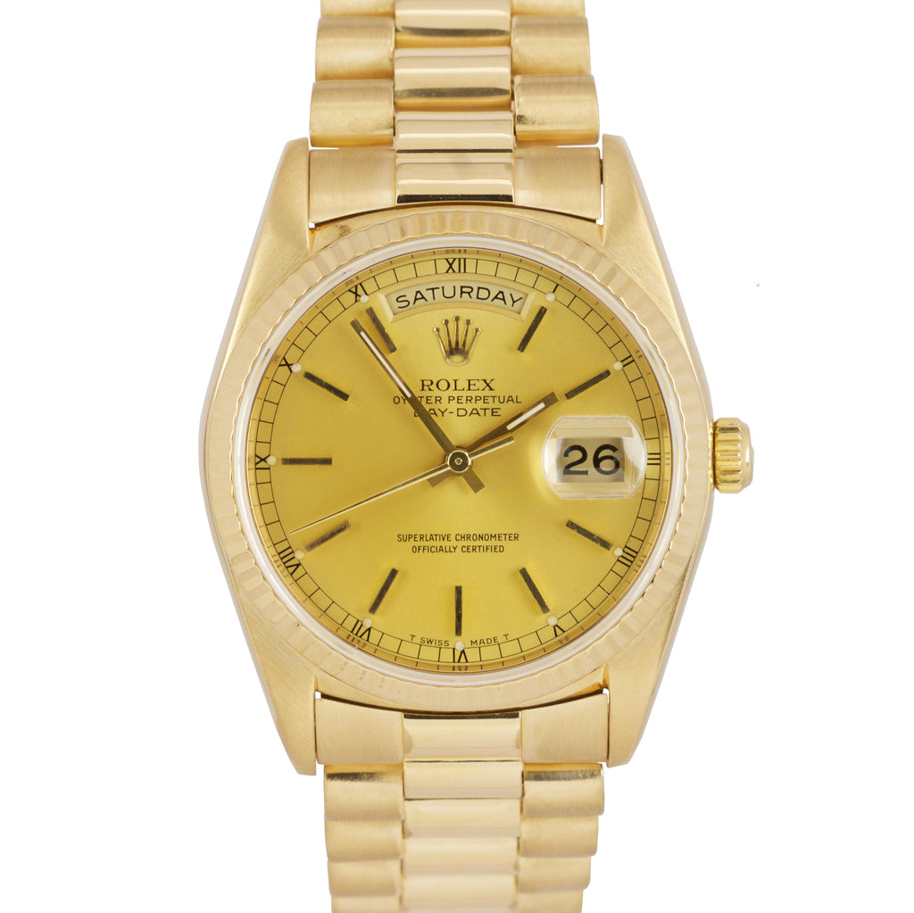 Rolex Day-Date President 36mm Champagne Dbl Quickset 18K Yellow Gold Watch 18238