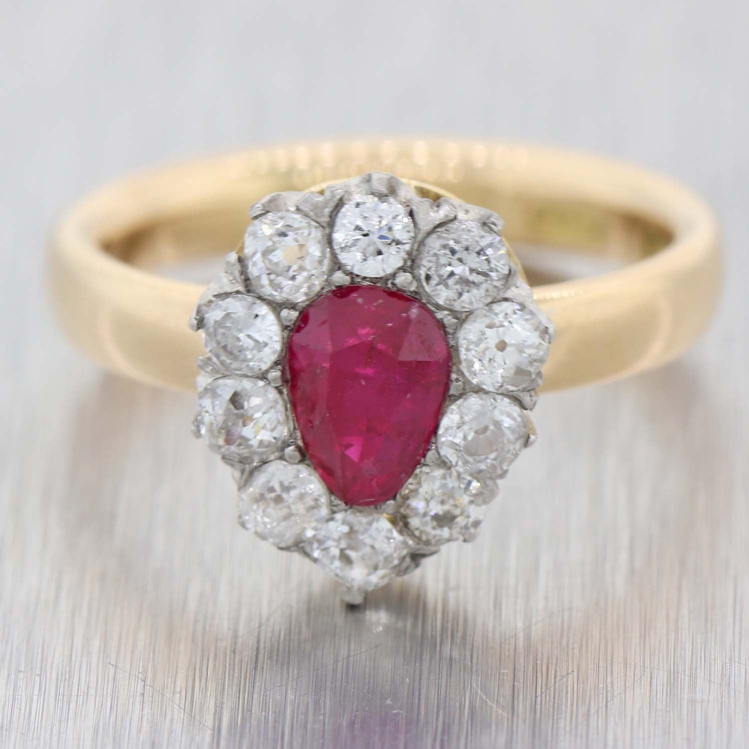 1880s Antique Victorian 18k Yellow Gold Platinum .65ctw Ruby Diamond Cluster Ring