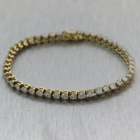Modern 14k Yellow Gold 4.70ctw Diamond Tennis Bracelet