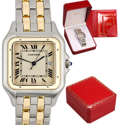 Cartier Panthere Jumbo Two Tone Gold Two Row Ivory 29mm Quartz Date Watch 183957